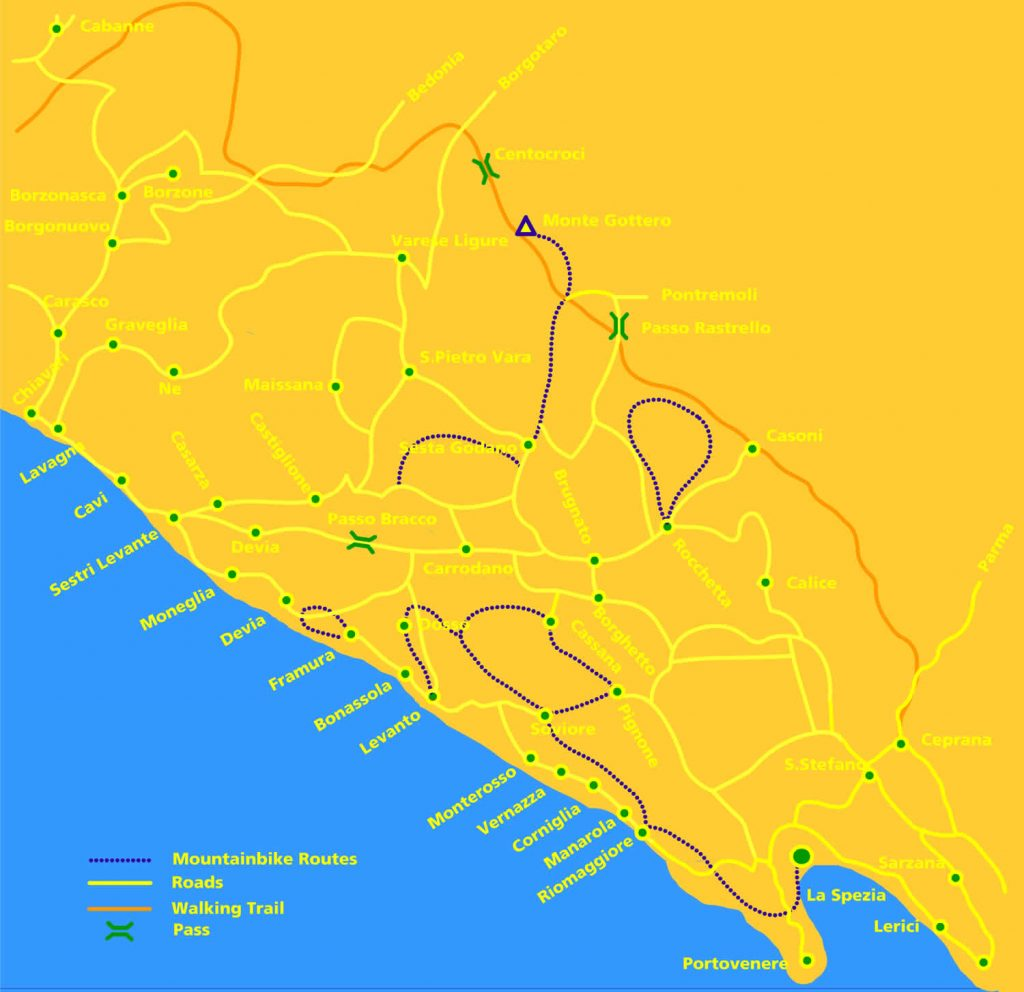 Cinque Terre Mountain Biking Trail Map, La Frontiera